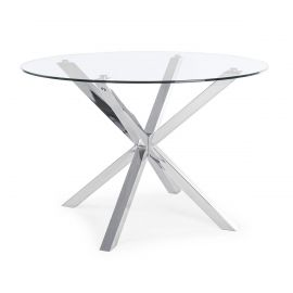 Masa dining rotunda MAY otel lucios/ sticla 114cm