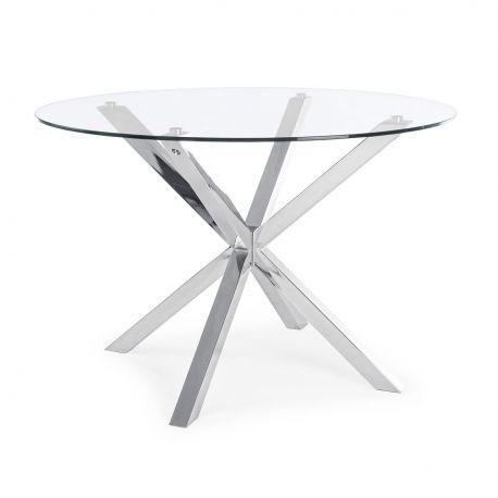 Mese dining - Masa dining rotunda MAY otel lucios/ sticla 114cm