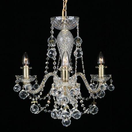 Lustre Cristal Bohemia - Lustra 3 brate cristal Bohemia, gold